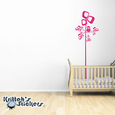 Art Tree And Owl Vinyl Wall Decal nursery kid children room decor sticker K472