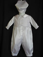 Baby Boys Satin Christening Romper Baptism Outfit  W/ Shantung Vest  0-18 Months