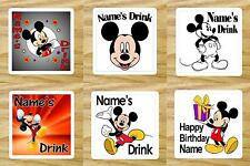PERSONALISED MICKEY MOUSE DRINKS COASTER ANY NAME/TEXT BIRTHDAY GIFT/PRESENT