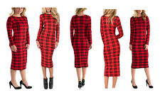 NEW LADIES WOMENS LONG SLEEVE STRETCH BODYCON TARTAN JERSEY MIDI MAXI DRESS