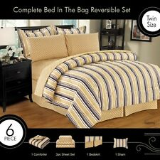 TOMMY BED IN A BAG, COMFORTER SHEET SET BED SKIRT SHAMS, QUEEN AND KING