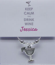 Personalised Wine Glass Charm THANK YOU gift party favour KEEP CALM and DRINK