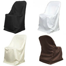 25 Folding Polyester Chair Covers Wedding Party Decor Banquet - 4 Colors!