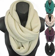 Women Soft Warm Solid Color Infinity Scarf Circle Loop Cowl Shawl Wrap Eternity