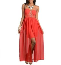 Valentines Special Red Gold Studded Hi Low Chiffon Overlay Strapless Dress Shop