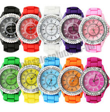 WOMENS BLING CRYSTAL SILICONE BRACELET WRIST WATCH LADIES FASHION