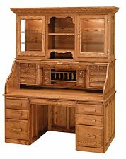 Luxury Amish Rolltop Desk Hutch Office Furniture Solid Wood Oak Maple Cherry