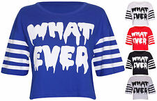 Womens New What Ever Slogan Stripe Print Ladies Short Sleeve Cropped T-Shirt Top