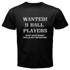 Wanted 9 Ball Players Funny Billiards Ball Game T-Shirt Mens Black / Navy Blue