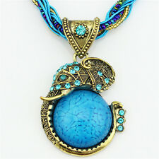 Fashion Jewelry Bronze Ptd Millet Chain Crystal Resin Elephant Pendant Necklace