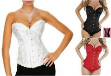 Black White Red Brocade Corset Hook and Eye Front, Lace Up Back, Fully Boned