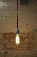 Pendant Light White And Red Twisted Cloth Covered Cord Wire Hanging Lamp Modern