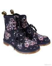 New Dr. Martens Page 1460 8 eye Boots Wild Rose Canvas Print Black & Beige