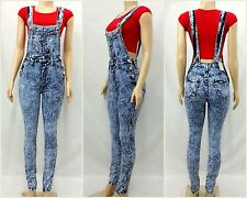 High Waist/Rise Acid Wash Skinny Leg Fit Jumpsuit Overall 3031