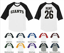 Giants Custom Personalized Name & Number Raglan Baseball Jersey T-shirt