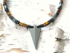 Magnetic Hematite HEALTH TIGER EYE ARROW Men's Women's Circulation Necklace