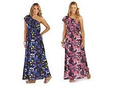 WOMENS 100% COTTON ONE SHOULDER MAXI DRESS FLORAL FRILL SUMMER LADIES SIZE 6-14