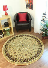 New Berber Beige Soft Victorian Border Round Rug Small Large Discount Circle Mat