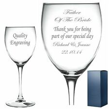Personalised Engraved Wine Glass Father of the Groom/Bride wedding wine glass