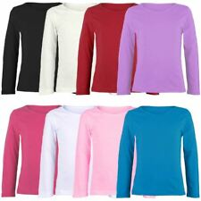 KIDS COTTON LONG SLEEVE PLAIN BASIC TOP GIRLS T-SHIRT CREW UNIFORM TEE 2-13Y