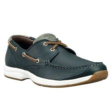Mens Timberland Earthkeepers Hulls Cove 2-Eye Boat Shoe Navy Blue Tumbled 5323A