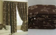TRADITIONAL CHOCOLATE BROWN GOLD HEAVY WEIGHT LINED BELGRAVIA JACQUARD CURTAINS