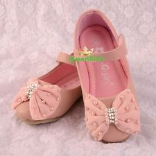 Diamante Bow Mary Janes Shoes Pink Size US 9-1.5 EU 25-32 Flower Girl GS016