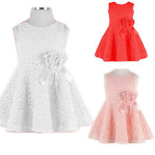Hot Kids Toddlers Girls Princess Bow Solid Lace Party Skirt Tutu Dress Sz2-7Y FF