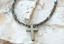 Magnetic Hematite Cross Pendant Men's Women's Healing Necklace QUICK SHIPPING