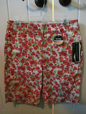 Counterparts flowers red womens shorts size petite NWT slimming sensations