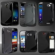 BLACK S-Line Grip Silicone TPU Gel Case Cover For Various Mobile Phones. HQ
