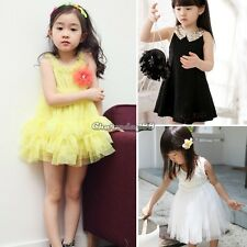 Kids Girls Vest Dress The Flower Tutu Dress/Sequin Collar Lace Vest Dresses C1M1