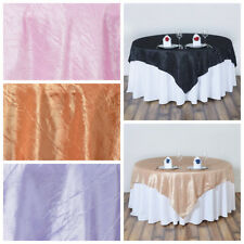 """90x90"""" Crinkled TAFFETA Table OVERLAY Wedding Party Catering Linens with Texture"""