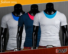 Top Designed Men's Slim Fit  T-Shirts Short Sleeve sport gym party polo DW NEW