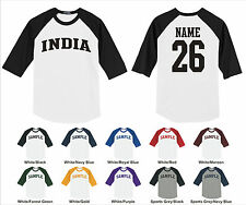 Country of India Custom Personalized Name & Number Raglan Baseball T-shirt