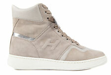 HOGAN WOMEN'S SHOES HIGH TOP SUEDE TRAINERS SNEAKERS H194 BEIGE  742