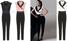 LADIES WOMENS CELEB KIM KARDASHIAN TUXEDO WET LOOK POCKET ZIP JUMPSUIT DRESS TOP