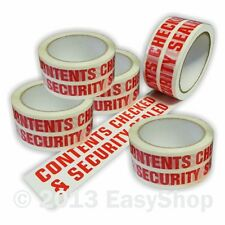 48mm x 66m CONTENTS CHECKED Parcel Sealing Packing Tape Rolls White Printed Red
