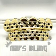 Iced out 14k Gold GRILLZ Checkered CZ Bling Tooth Mouth Teeth Cap HipHop Grills
