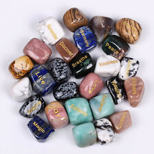 "Large Size 1""Engraved Tumbled Stones Reiki Crystal Healing Sold By 1pc"