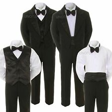 Baby Kid Teen 6pc BOY Wedding Formal Black Tail Vest Cummerbund Tuxedo Suit S-20