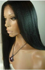 """18""""Malaysia Yaki Straight 100% Indian Remy Human Hair Lace Front silk top Wig"""