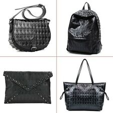 Hot Lady Girls PU Leather Skull Head Tote Shoulder Bag Messenger Handbag Black