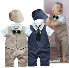 Baby Boy Wedding Christening Tuxedo Formal Suit Romper Outfit Clothes+HAT 3-18M