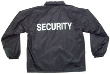 Navy windbreaker jacket with security silk screen in white