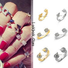 Women Fashion Metal Punk Gold Silver Tone Shiny Beads Spiked Ring Set