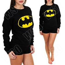 New Ladies Womens Batman Logo Print Fleece Sweatshirt Top Jumper Size S M L 8 12
