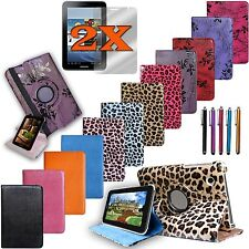 Rotating Leather Cover Case for Samsung Galaxy Tab 2 7.0 Tablet Accessory Bundle