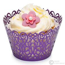 Purple Cupcake Wrappers - Abstract Filigree - Bun Cases Wedding Baby Anniversary