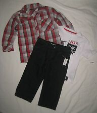 NWT DKNY BOYS 3 PIECE OUTFIT SET PANTS LONG SLEEVE SHIRT AND T-SHIRT PICK SIZE